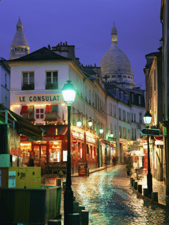 Rainy Street and Dome of the Sacre Coeur, Montmartre, Paris, France, Europe Stretched Canvas Print
