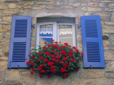 Blue Shuttered Windows and Red Flowers, Concarneau, Finistere, Brittany, France, Europe Photographic Print