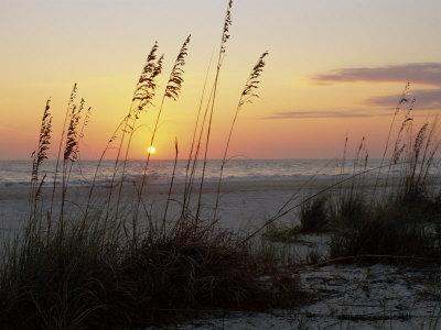 Sunset, Gulf Coast, Longboat Key, Anna Maria Island, Beach, Florida, USA Stretched Canvas Print