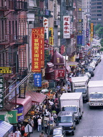Chinatown, Manhattan, New York, New York State, United States of America, North America Stretched Canvas Print