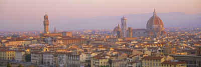 Dawn Over Florence Showing the Duomo and Uffizi, Tuscany, Italy Stretched Canvas Print