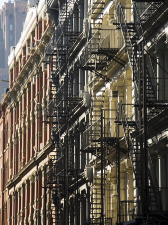 Fire Escapes on the Outside of Buildings in Spring Street, Soho, Manhattan, New York, USA Stretched Canvas Print