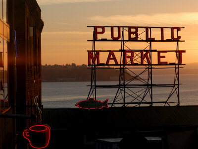 Pike Place Market and Puget Sound, Seattle, Washington State Stretched Canvas Print