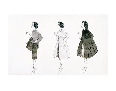 Three Female Fashion Figures, c.1959 Print