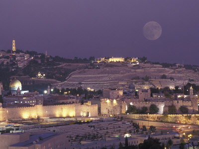 Moon over the Dome of the Rock and Mount Olives in Jerusalem, Israel Stretched Canvas Print