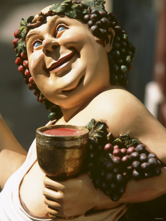 Bacchus, Roman God of Wine, Painted Wooden Figure Photographic ...