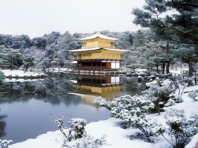 Kinkakuji Temple in Snow Stretched Canvas Print