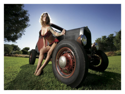 hot rod art prints. Hot Rod Pin-Up Girl Giclee