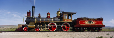 Train Engine on a Railroad Track, Locomotive 119, Golden Spike National Historic Site, Utah, USA Stretched Canvas Print