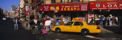 Yellow Taxi on the Road, Chinatown, Manhattan, New York City, New York, USA Stretched Canvas Print