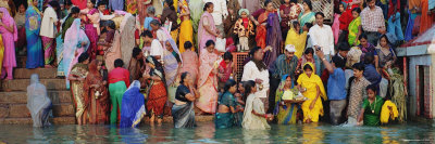 Hindu Pilgrims Bathing and Worshipping in a River, Ganges River, Varanasi, India Stretched Canvas Print