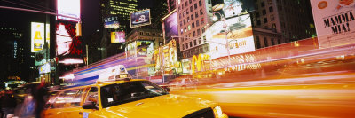 Yellow Taxi on the Road, Times Square, Manhattan, New York City, New York, USA Stretched Canvas Print
