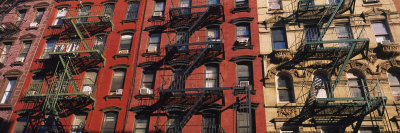 Fire Escapes on Buildings, Little Italy, Manhattan, New York City, New York, USA Stretched Canvas Print