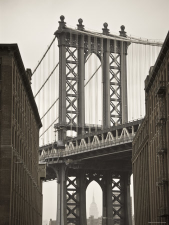 Manhattan Bridge and Empire State Building, New York City, USA Stretched Canvas Print