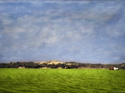 Impressionistic Harvest Field and Truck Stretched Canvas Print