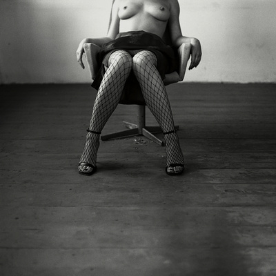 Pentacon Six Camera Shot of Topless Woman in Fishnet Stockings Stretched Canvas Print