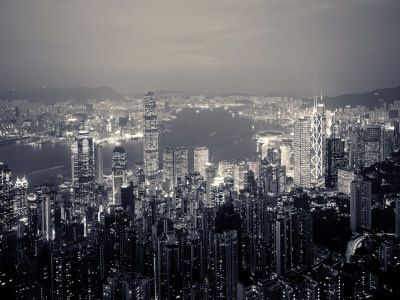 Victoria Harbour and Skyline from the Peak, Hong Kong, China Stretched Canvas Print