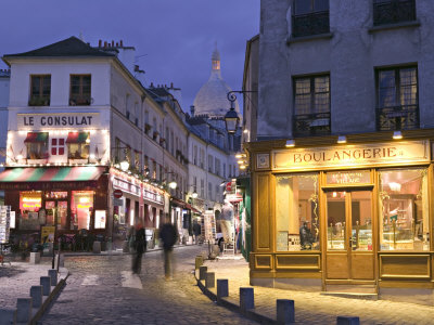 Rue Norvins and Sacre Coeur, Montmartre, Paris, France Stretched Canvas Print