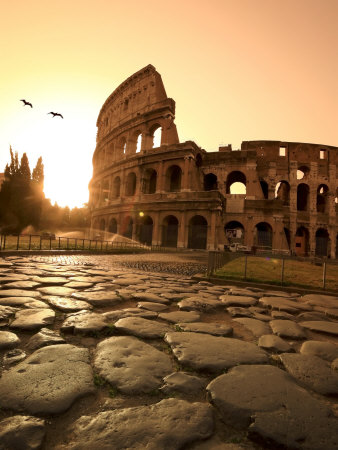 Colosseum and Via Sacra, Sunrise, Rome, Italy Stretched Canvas Print