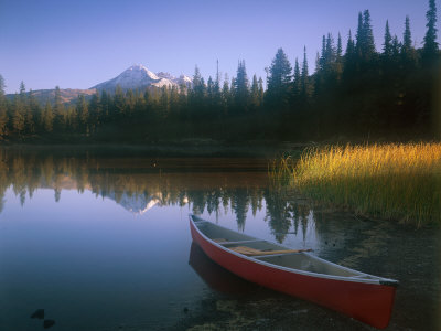 Beached Red Canoe, Sparks Lake, Central Oregon Cascades Stretched Canvas Print