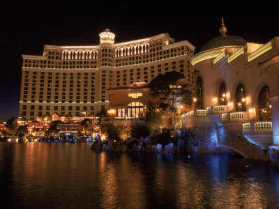 The Bellagio at Night, Las Vegas, NV Stretched Canvas Print