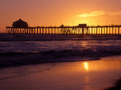 Ocean Pier at Sunset, Huntington Beach, CA Stretched Canvas Print