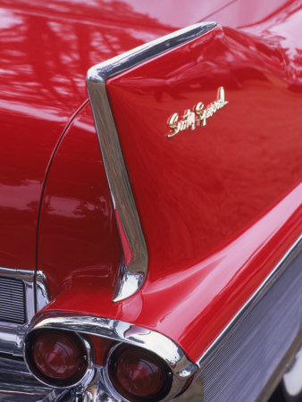 Taillight and Fin of 1958 Fleetwood Stretched Canvas Print