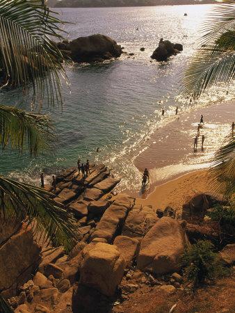 Beach, Playa Hornitos, Acapulco, Mexico Stretched Canvas Print