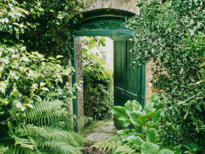 Doorway in Wall Leading to Kitchen Garden Trevarno, Cornwall Stretched Canvas Print