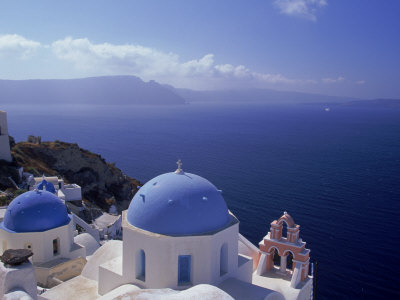 Greek Church, Santorini, Greece Stretched Canvas Print
