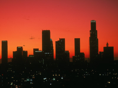 Skyline of Los Angeles at Sunset, CA Stretched Canvas Print