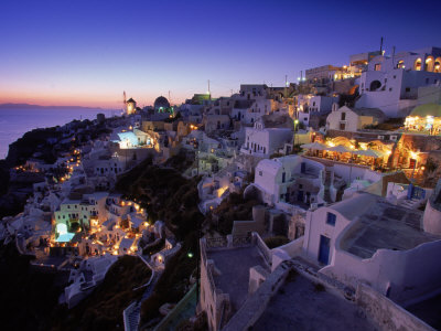 Santorini at Night, Greece Stretched Canvas Print