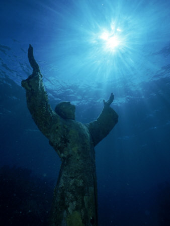 Christ of the Abyss Statue, Pennekamp State Park, FL Stretched Canvas Print