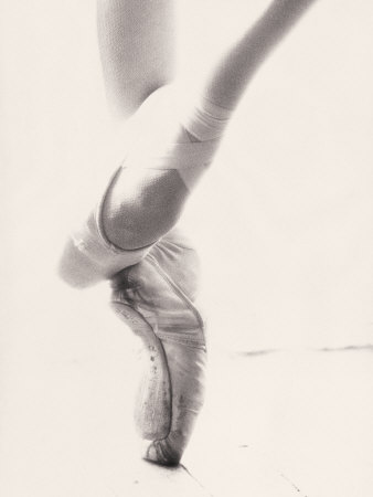 Close-up of Ballerina's Feet and Legs Stretched Canvas Print