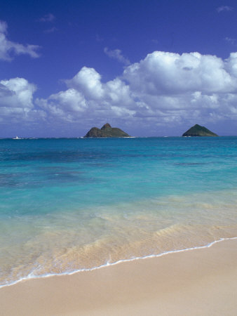Cloud Filled Sky Over Blue Sea, Lanikai, Oahu, HI Stretched Canvas Print