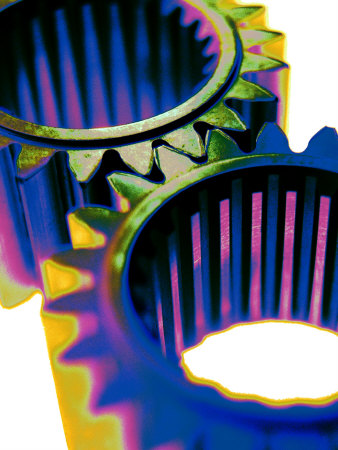 Interlocking Cogs or Gears Stretched Canvas Print