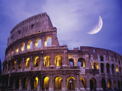 The Colosseum at Night, Rome, Italy Stretched Canvas Print