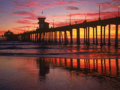 Huntington Beach Pier, CA Stretched Canvas Print