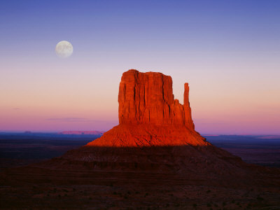 Moon Over Monument Valley, Arizona Stretched Canvas Print