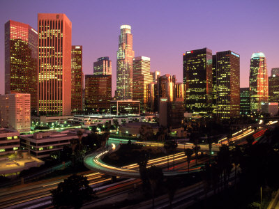 Los Angeles Skyline, California Stretched Canvas Print