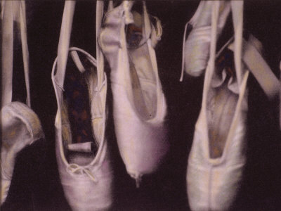 Worn Ballet Shoes Hanging in a Window Stretched Canvas Print