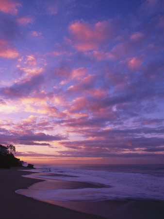 Sunset and the Ocean, CA Stretched Canvas Print