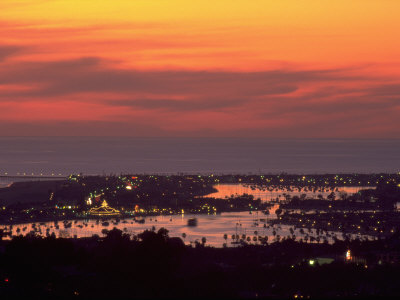 Newport Beach and Marina at Night, California Stretched Canvas Print