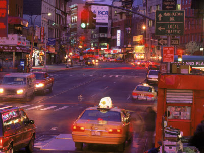 Canal Street with Cab, Chinatown, NYC Stretched Canvas Print