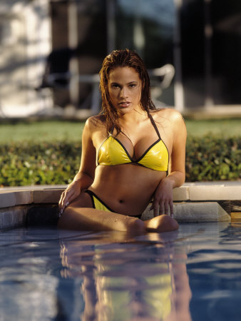 Woman in Yellow Bikini Sitting in Pool Other at Art.com