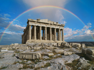 Rainbow in Sky, Parthenon, Greece Stretched Canvas Print