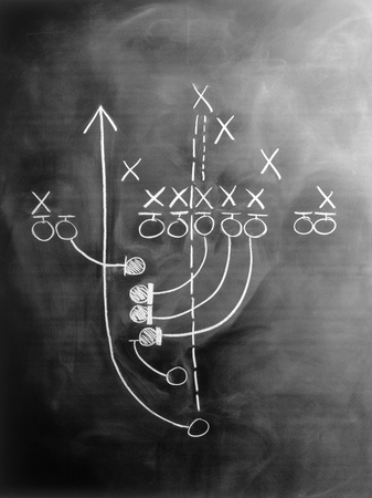 Football Play on Chalkboard Stretched Canvas Print