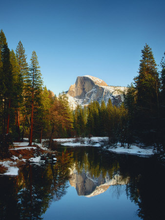 Half Dome Reflected in Merced River, Yosemite National Park Stretched Canvas Print