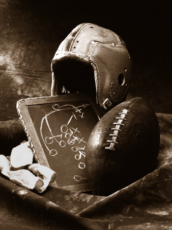 Close-up of Old Football Equipment Stretched Canvas Print
