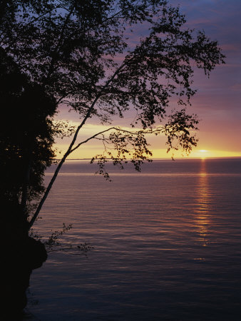 The Sun Sets on Lake Superior in the Apostle Islands Stretched Canvas Print